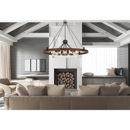 60W X 9 Lucca Wood/Metal Chandelier (Edison Bulbs Not included)
