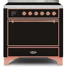 36 Inch Glossy Black Electric Freestanding Range