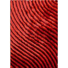 Soft Three Dimensional Polyester Viscose Hand Tufted 3D 303 Shag Area Rug by Rug Factory Plus - 2' x 3' / Red