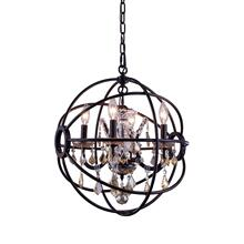 Geneva 4 light Dark Bronze Pendant Golden Teak (Smoky) Royal Cut crystal
