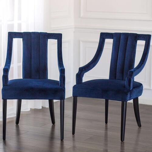 Viola Velvet Fabric Klismos Arm Chair, Dulce Blue