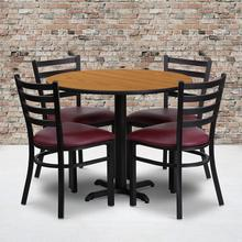 Product Image - 36'' Round Natural Laminate Table Set with X-Base and 4 Ladder Back Metal Chairs - Burgundy Vinyl Seat