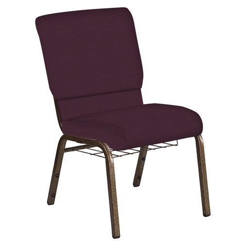 Flash Furniture - 18.5''W Church Chair in Neptune Aubergine Fabric with Book Rack - Gold Vein Frame