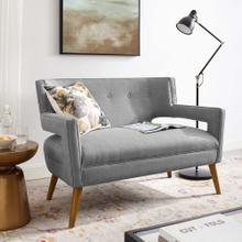 Sheer Upholstered Fabric Loveseat in Light Gray