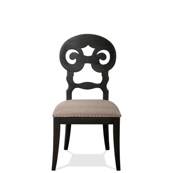 Riverside - Mix-n-match Chairs - Scroll Back Upholstered Side Chair - Rubbed Black Finish