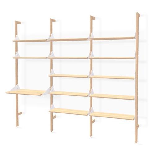 Product Image - Branch-3 Shelving Unit with Desk Blonde Uprights White Brackets Blonde Shelves