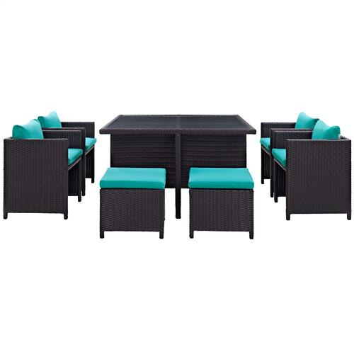 Inverse 9 Piece Outdoor Patio Dining Set in Espresso Turquoise