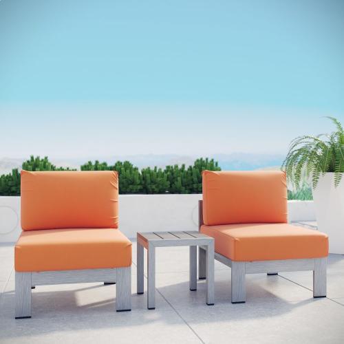 Shore 3 Piece Outdoor Patio Aluminum Sectional Sofa Set in Silver Orange