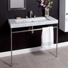 Floor-standing metal console stand with a towel bar (Bathroom Sink 5303 sold separately), made of stainless steel or brass. It must be attached to wall.