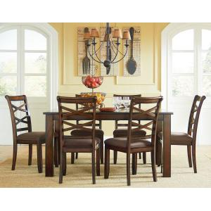 Redondo Dining Table and Six Chairs Set, Cherry Brown