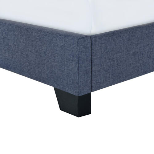 Clipped Corner Twin Upholstered Bed in Denim Blue
