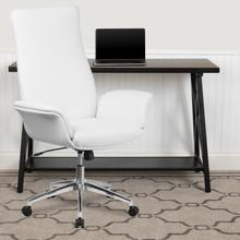 View Product - High Back White LeatherSoft Executive Swivel Office Chair with Flared Arms
