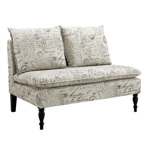 Dual Pillow Back Bench in Black and White French Script