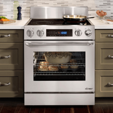 "Distinctive 30"" Freestanding Electric Range, in Stainless Steel, with Epicure® Style Handle in Stainless Steel with Chrome Trim, and 6"" Backguard with Full-Depth Side Panels"