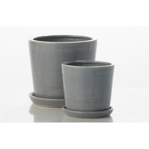 Alfresco Home - Mud Cloth Petits Pots w/ attached saucer - Grey (Set of 2)