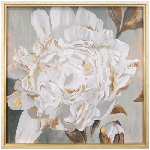 Style Craft - WHITE FOLIOLE  42in w X 42in ht  Textured Framed Print  Made in USA