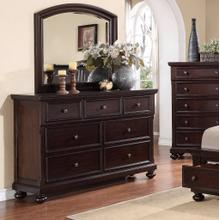 Brishland Rustic Cherry 7 Drawers Bedroom Dresser and Mirror