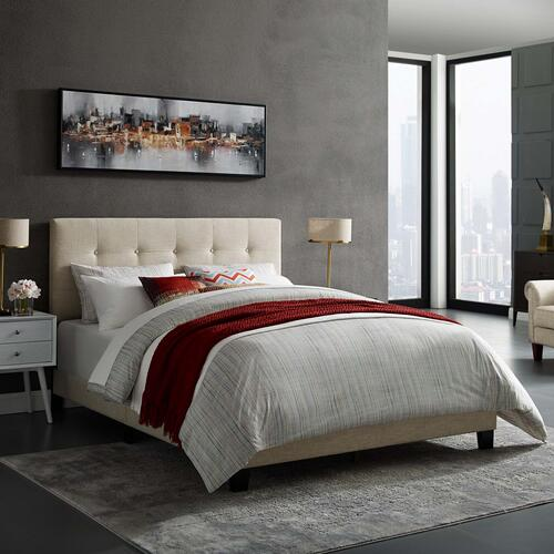 Amira Twin Upholstered Fabric Bed in Beige