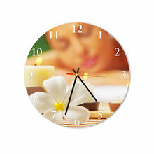 Massage and Flowers Round Square Acrylic Wall Clock