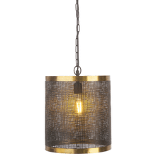 See Details - Black & Gold Cylinder Wavy Mesh Pendant. 60W Max. Hard Wire Only.