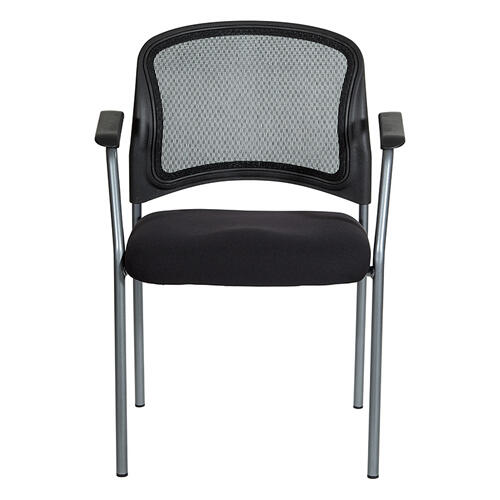 Progrid Contour Back Titanium Finish Vistors Chair With Arms