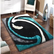 Vibrant Hand Tufted Modern Shag Lola 005 Area Rug by Rug Factory Plus - 2' x 3' / Black Gray Blue