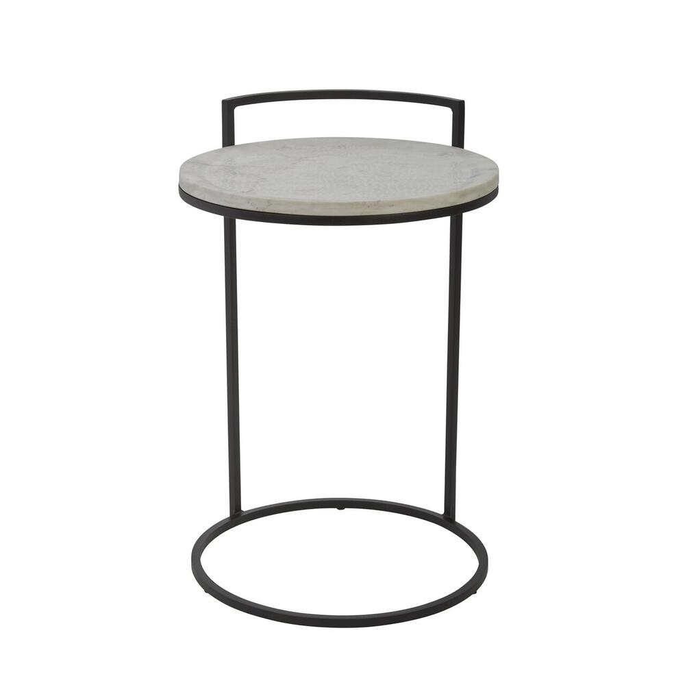 "Iron 23"" Accent Table With Marble Top, Black"