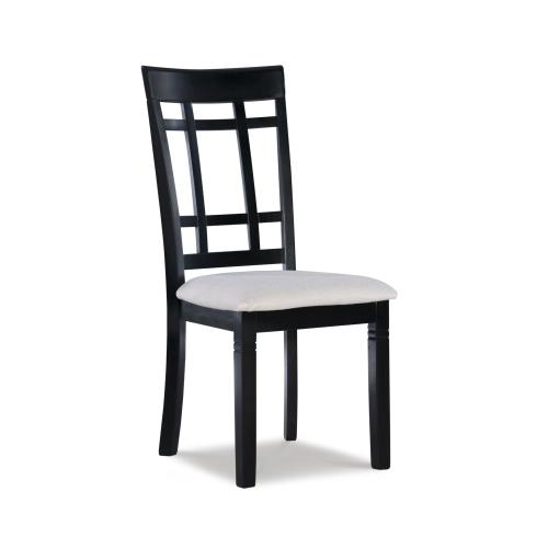 Upholstered Microfiber Seat and Cross Slat Back Side Chairs (set of 2), Black and Beige