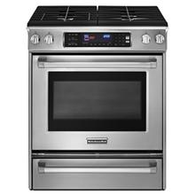30-In. Width  Slide-In  Dual Fuel  4 Burners  Even-Heat™ True Convection System  Pro Line™ Series