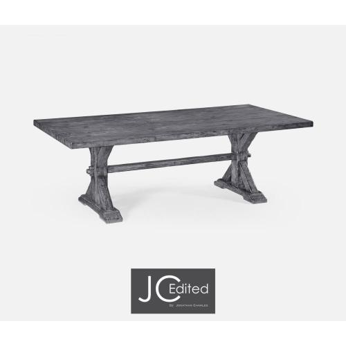 Large solid antique dark grey topped dining table