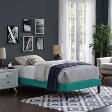 View Product - Tessie Twin Fabric Bed Frame with Squared Tapered Legs in Teal