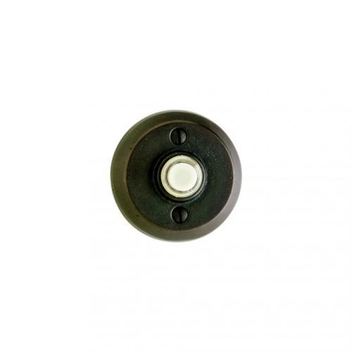 Round Doorbell Button White Bronze Brushed