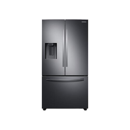27 cu. ft. Large Capacity 3-Door French Door Refrigerator with External Water & Ice Dispenser in Black Stainless Steel