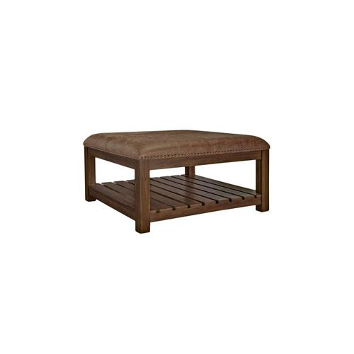 Highlands Square Coffee Table with Upholstered Top, Brown