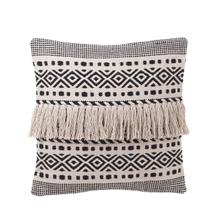 See Details - Black & White Tribal Striped Pillow