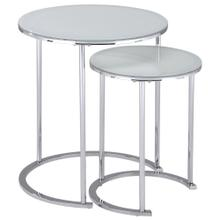 Oslo 2Pc Accent Table set in Chrome/White