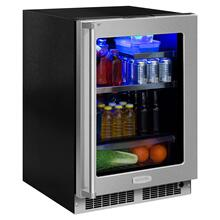 24-In Professional Built-In Beverage Refrigerator with Door Style - Stainless Steel Frame Glass, Door Swing - Right