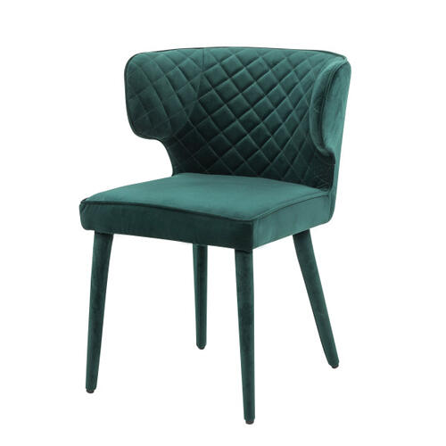Quilted Shelter Back Dining Chair in Emerald Green