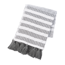 Cream & Grey Striped Throw with Tassels