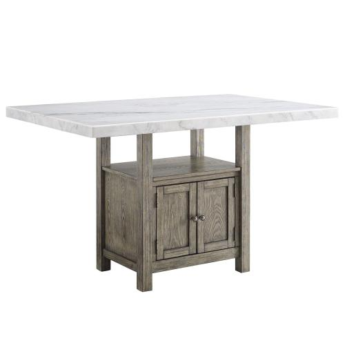 Grayson 60-inch White Marble Counter Storage Table