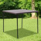 2.83-Foot Square Bi-Fold Brown Wood Grain Plastic Folding Table with Carrying Handle Product Image