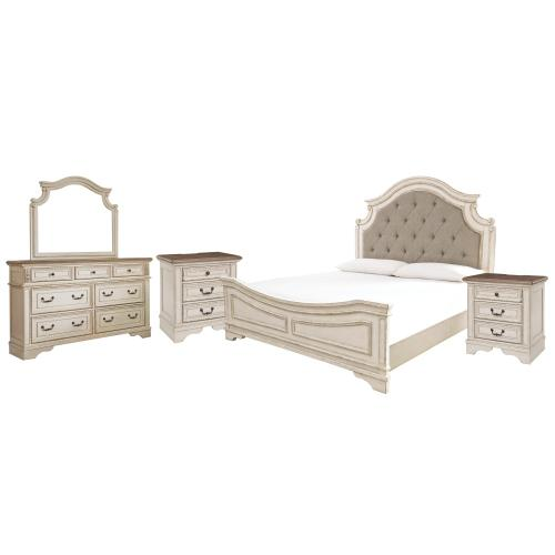 King Upholstered Panel Bed With Mirrored Dresser and 2 Nightstands