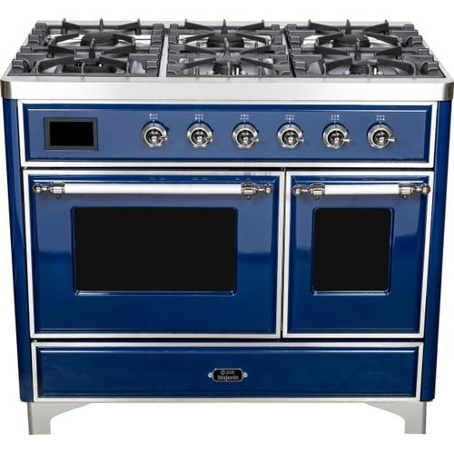 Majestic II 40 Inch Dual Fuel Natural Gas Freestanding Range in Blue with Chrome Trim