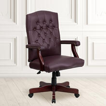 Martha Washington Burgundy LeatherSoft Executive Swivel Office Chair with Arms