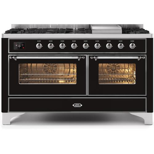 Gallery - Majestic II 60 Inch Dual Fuel Natural Gas Freestanding Range in Glossy Black with Chrome Trim