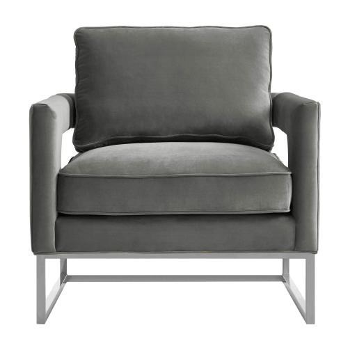 Avery Grey Velvet Chair - Silver Frame