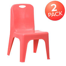 "2 Pack Red Plastic Stackable School Chair with Carrying Handle and 11"" Seat Height"