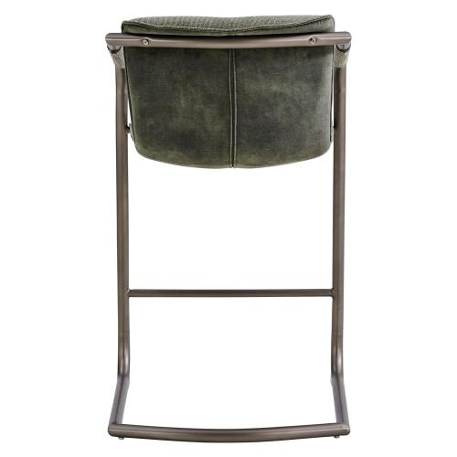 Indy Fabric Counter Stool w/ Arms Silver Frame, Sage Green/Velvet Green
