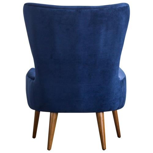 Product Image - Arya KD Velvet Fabric Accent Chair Wooden Legs, Navy Blue