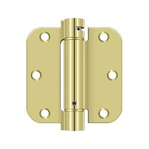 "3-1/2"" x 3-1/2"" x 5/8"" Spring Hinge - Polished Brass"